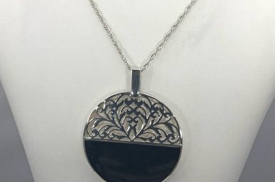 Sterling Silver Onyx Disc Necklace