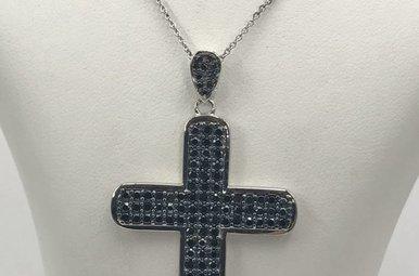 Sterling Silver Black CZ Cross Necklace