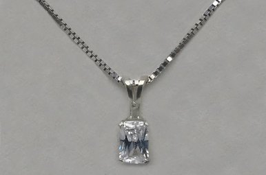 Sterling Silver Emerald Cut CZ Necklace