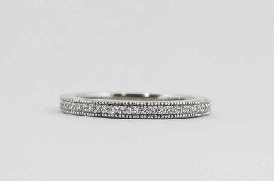 14KW 1/8CTW LADIES ROMANCE MILGRAIN DIAMOND WEDDING BAND