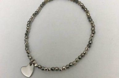 Sterling Silver Beaded Heart Stretch Bracelet