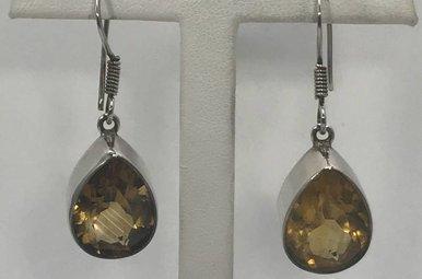 Sterling Silver Citrine Teardrop Earrings