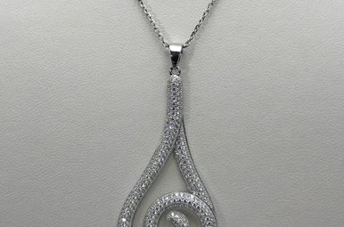 Sterling Silver & CZ Fancy Ladies Necklace