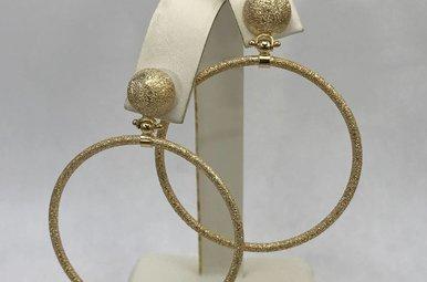 Sterling Silver Gold Sideways Hoop Earrings