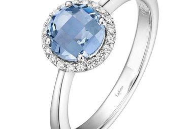 Lafonn December Birthstone Ring, Blue Topaz & Simulated Diamonds 1.05ctw, Sterling Silver