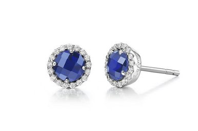 Lafonn September Birthstone Earrings, Lab Sapphire & Simulated Diamonds 1.26ctw, Sterling Silver