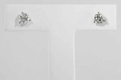 14KW 3/4CTW ROUND BRILLIANT DIAMOND STUD EARRINGS, MARTINI SET, SCREW BACKS