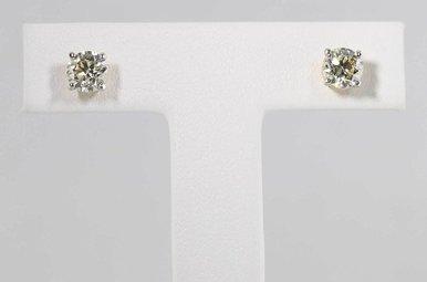 14KY 1CTW ROUND BRILLIANT DIAMOND STUD EARRINGS, SCREW BACKS