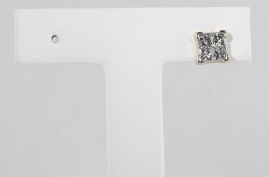 14KW 1/2CTW SINGLE STUD EARRING WITH INVISIBLY SET PRINCESS CUT DIAMONDS