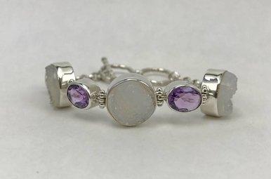Sterling Silver Amethyst & Quartz Bracelet