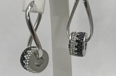 Sterling Silver Black & Clear Sparkle Earrings