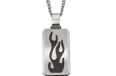 STAINLESS STEEL & BLACK ENAMEL GENTS FLAME PENDANT