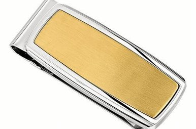 STAINLESS STEEL & YELLOW IP MONEY CLIP