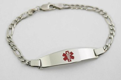 STERLING SILVER MEDICAL ALERT FIGARO LINK LADIES BRACELET