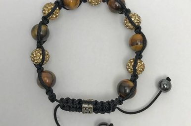 Tigers Eye & Gold Colored Gem Bracelet