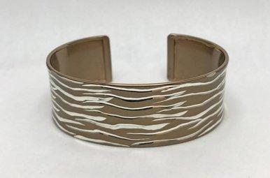 Sterling Silver Champagne Wide Cuff Bracelet