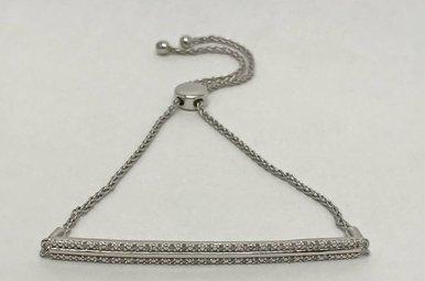 Sterling Silver .10ctw Dia Adjustable Bar Bracelet