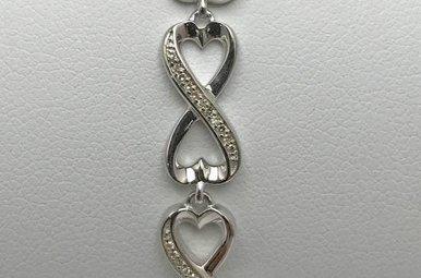 Sterling Silver .10ctw Dia Infinity Bracelet