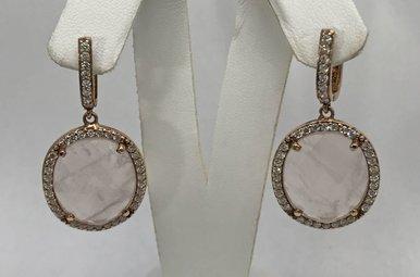 Sterling Silver Rose Quartz & CZ Earrings