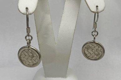 Sterling Silver Weave Pattern Earrings
