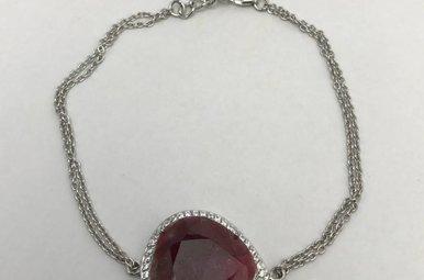 Sterling Silver Red Corundum & CZ Bracelet