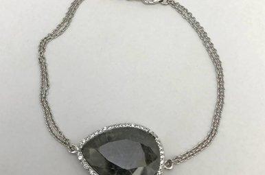 Sterling Silver Grey Corundum & CZ Bracelet