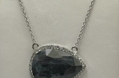 Sterling Silver Grey Corundum & CZ Necklace