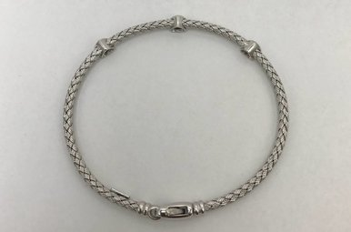 Sterling Silver Rope & Diamond Bracelet