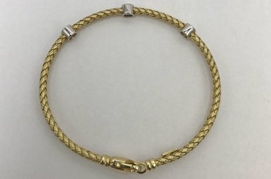 Sterling Silver Gold Color Rope & Diamond Bracelet