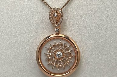 Sterling Silver Rose & CZ Necklace