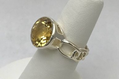 Sterling Silver Yellow Topaz Ring