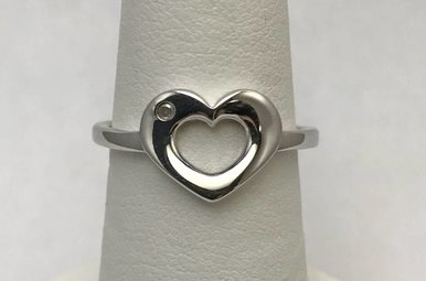 Sterling Silver & Hot Diamonds Heart Ring