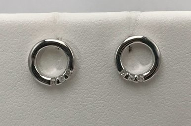 Sterling Silver Circle Hot Diamonds Earrings