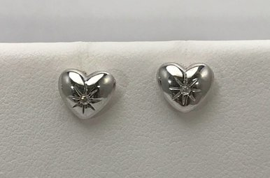Sterling Silver Heart Hot Diamond Earrings