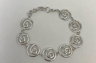 Sterling Silver Hot Diamonds Swirl Bracelet