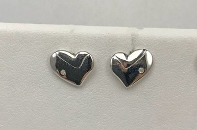 Sterling Silver Hot Diamond Heart Earrings