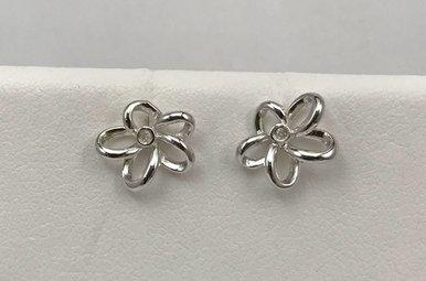 Sterling Silver Hot Diamond Flower Earrings