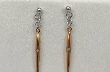 Sterling Silver Rose Hot Diamond Dangle Earrings