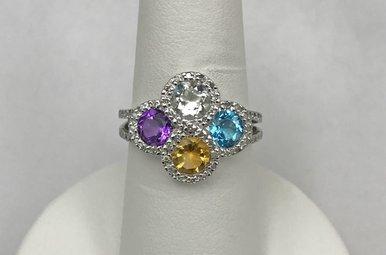Sterling Blue Topaz, Amethyst, Citrine, CZ & .16ctw Diamond Ring