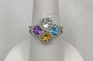 Sterling BT, Amy, Citrine, CZ & .16ctw Diamond Ring