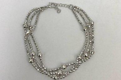 Sterling Silver Multi-Band Beaded Bracelet