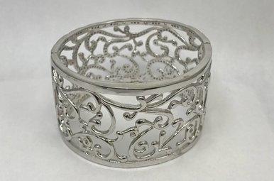 Sterling Silver Wide Laced CZ Bracelet