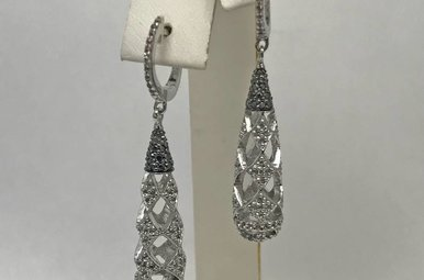 Sterling Silver & 1.5ctw Diamond Drop Earrings