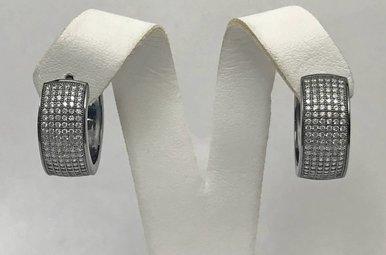 Sterling Silver & CZ Wide Hoop Earrings