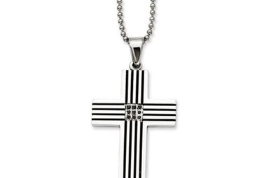 "STAINLESS STEEL .04CT BLACK DIAMOND CHISEL GENTS CROSS PENDANT WITH 22"" CHAIN"