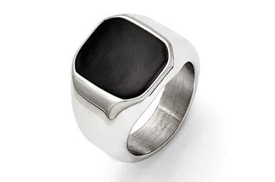 STAINLESS STEEL & BLACK ENAMEL CHISEL GENTS RING, SIZE 10