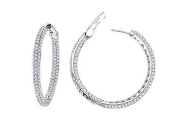 Lafonn 2.2ctw Sim Diamond Pave Hoop Earrings