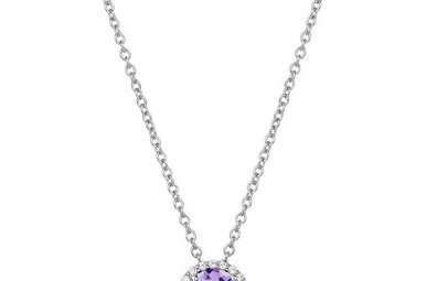 Lafonn 1.05ctw Sim Diamond Amethyst Halo Necklace