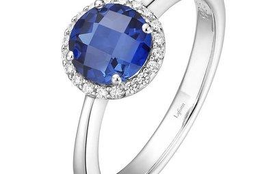 Lafonn 1.05ctw Sim Diamond Sapphire Halo Ring