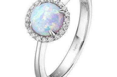 Lafonn 21 Stone Opal Halo Ring